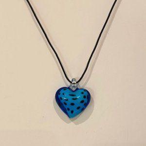 Vintage 1980s Glass Heart Necklace